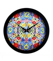 Random Modern Series Blue Floral Analog Wall Clock RC-0333-BLUE-FLORAL