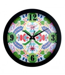 Random Modern Series Green Floral Analog Wall Clock RC-0333-GREEN-FLORAL