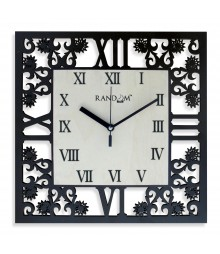 Square Florish Glass covered Analog Wall Clock RC-0375
