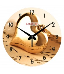 Golden Heart Polymer Analog Wall Clock RC-0546