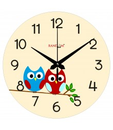 Owl Couple Polymer Analog Wall Clock RC-0554