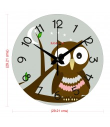 Cute Owl Polymer Analog Wall Clock RC-0557