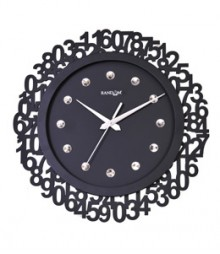 Random Jewel Numeric Analog Wall Clock RC-0701-BLACK
