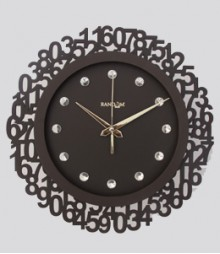 Random Jewel Numeric Analog Wall Clock RC-0701-ch-br
