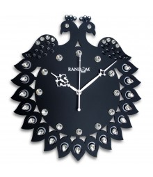 Wooden Jewel Peacock Analog Wall Clock RC-0711