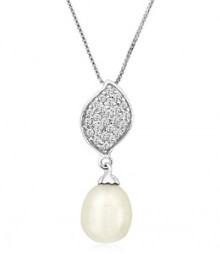 Tanya Rossi Leaf White Pearla Palermo Pendant  TRP0003.WH