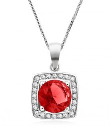 Tanya Rossi Rioma Rocks Solitaire Square Red Pendant  TRP0011.RD