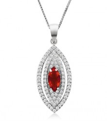 Tanya Rossi Fantasy Ferenze Pave Oval Red Pendant  TRP0014.RD