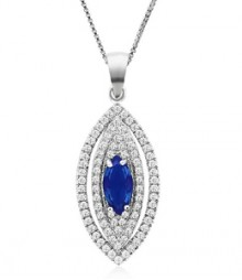 Tanya Rossi Fantasy Ferenze Pave Oval Blue Pendant  TRP0015.BS