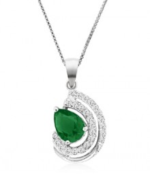 Tanya Rossi Pave Roma Rocks Half Moon Green Pendant  TRP0029.GR