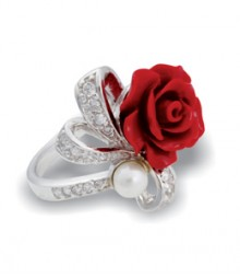 Tanya Rossi Sterling Silver Coral Red Rings TRR179A