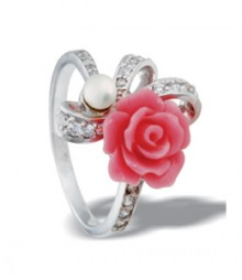 Tanya Rossi Sterling Silver Coral Pink Rings TRR179B