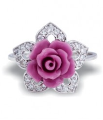 Tanya Rossi Pink Flower Sterling Silver Rings TRR181F