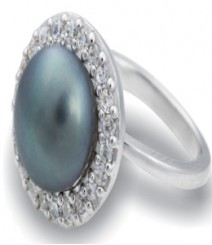 Tanya Rossi Grey Round Pearl Rings TRR211A