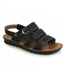 Cefiro Black Sandal for Men - CSD0013