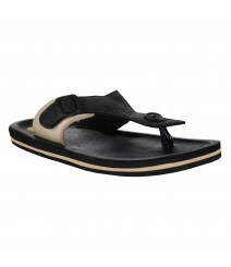 Cefiro Black Beige Slipper Omega for Men - CSP0027