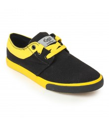 Vostro Black Yellow Casual Shoes for Men - VCS0161