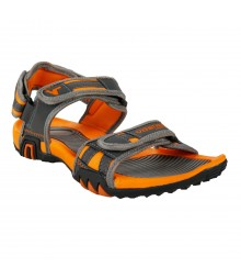 Vostro Grey Orange Sandal Grip for Men - VSD0014