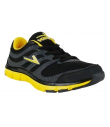 Vostro Black Yellow Sports Shoes for Men - VSS0044