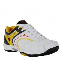 Vostro White Black Yellow Sports Shoes for Men - VSS0098