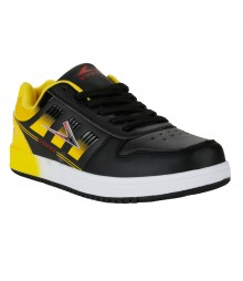 Vostro Black Yellow Sports Shoes for Men - VSS0167