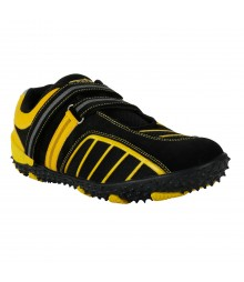 Vostro Black Yellow Sports Shoes for Men - VSS0231